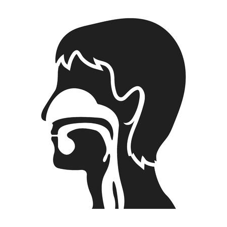 epiglottis: Respiratory system icon in black style isolated on white background. Medicine and hospital symbol vector illustration.
