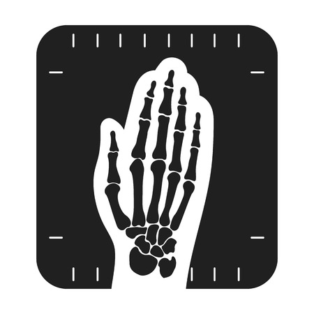 wrist joint: X-ray hand icon in black style isolated on white background. Medicine and hospital symbol vector illustration.
