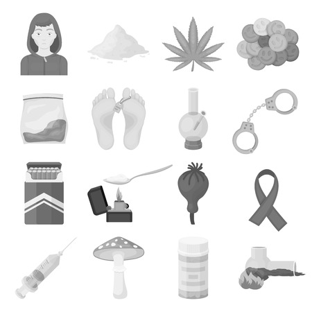 ecstasy: Drugs set icons in monochrome style. Big collection of drugs vector symbol stock