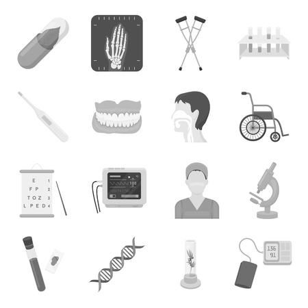 Geneeskunde en het ziekenhuis set pictogrammen in zwart-wit stijl. Grote verzameling van de geneeskunde en het ziekenhuis vectorsymbool voorraad Vector Illustratie