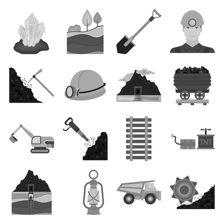 shaft: Mine set icons in monochrome style. Big collection of mine vector symbol stock