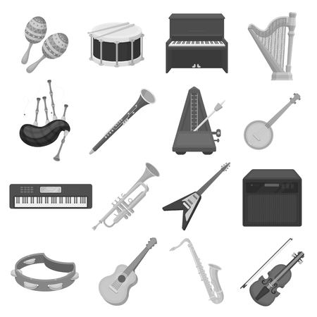 oboe: Musical instruments set icons in monochrome style. Big collection of musical instruments vector symbol stock