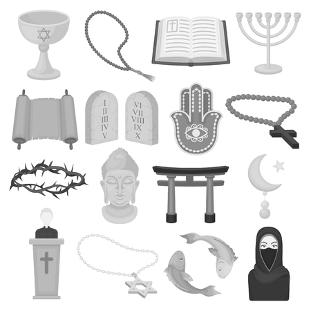 niqab: Religion set icons in monochrome style. Big collection of religion vector symbol stock
