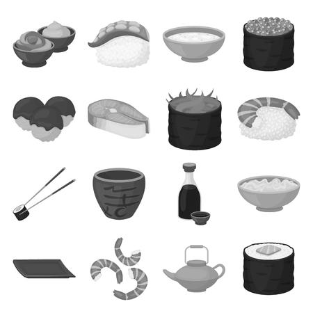 tetsubin: Sushi set icons in monochrome style. Big collection of sushi vector symbol stock Illustration