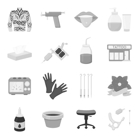 piercing: Tattoo studio set icons in monochrome style. Big collection of tattoo studio vector symbol stock Illustration