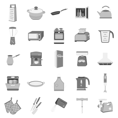 stockpot: Kitchen set icons in monochrome style. Big collection of kitchen vector symbol stock