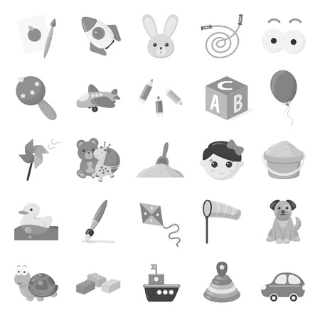 windmill toy: Toys set icons in monochrome style. Big collection of toys vector symbol stock