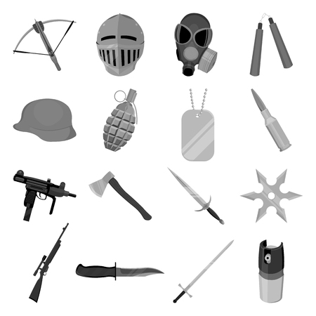Weapon set icons in monochrome style. Big collection of weapon vector symbol stock
