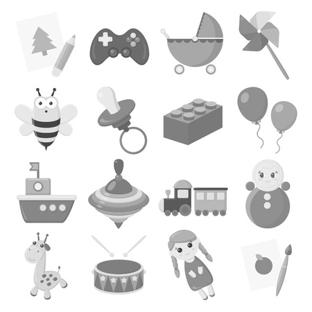 cartoon wood bucket: Toys set icons in monochrome style. Big collection of toys vector symbol stock