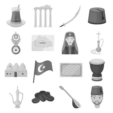 saz: Turkey set icons in monochrome style. Big collection of Turkey vector symbol stock