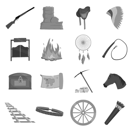 Wild west set icons in monochrome style. Big collection of wild west vector symbol stock Illustration