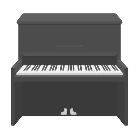 Piano icon in monochrome style isolated on white background. Musical instruments symbol vector illustration