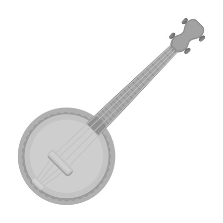 resonator: Banjo icon in monochrome style isolated on white background. Musical instruments symbol vector illustration