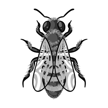 Bee icon in monochrome style isolated on white background. Apiary symbol vector illustration