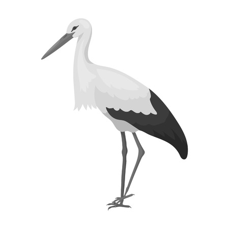 Stork icon in monochrome style isolated on white background. Bird symbol vector illustration. Иллюстрация