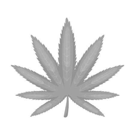 Marijuana leaf icon in monochrome style isolated on white background. Drugs symbol vector illustration. Illustration