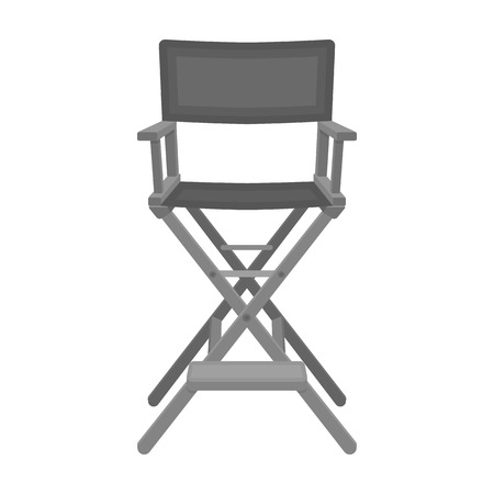 director's chair: Directors chair icon in monochrome style isolated on white background. Films and cinema symbol vector illustration.