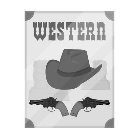Western movie icon in monochrome style isolated on white background. Films and cinema symbol vector illustration. Illustration
