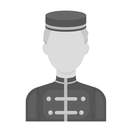 bellboy: Bellboy icon in monochrome style isolated on white background. Hotel symbol vector illustration.