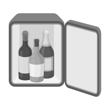 mini bar: Mini-bar icon in monochrome style isolated on white background. Hotel symbol vector illustration.