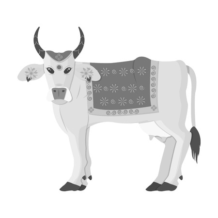 india cow: Sacred cow icon in monochrome style isolated on white background. India symbol vector illustration.