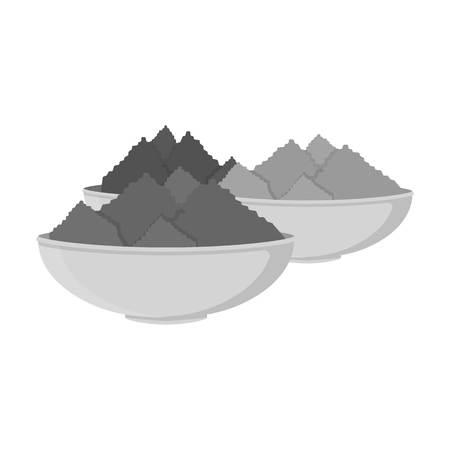 icono de polvo de colores en blanco y negro de estilo aislado en el fondo blanco. India Símbolo de la ilustración del vector.