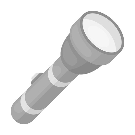 Flashlight icon in monochrome style isolated on white background. Light source symbol vector illustration
