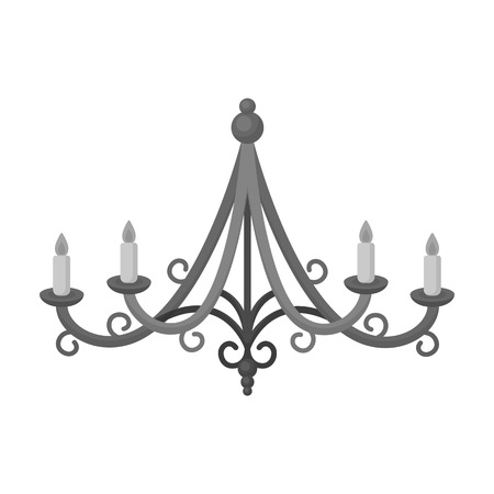 chandelier isolated: Chandelier icon in monochrome style isolated on white background. Light source symbol vector illustration
