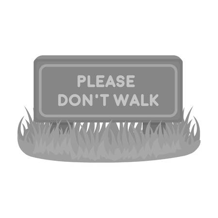 dont walk: Please dont walk icon in monochrome style isolated on white background. Park symbol vector illustration.