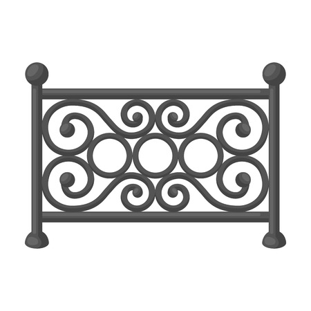 fence park: Fence icon in monochrome style isolated on white background. Park symbol vector illustration.