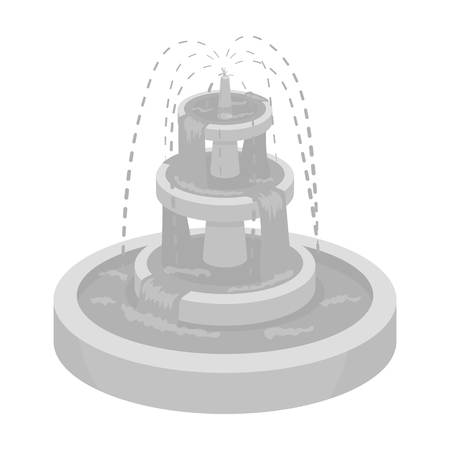 Fountain icon in monochrome style isolated on white background. Park symbol vector illustration.