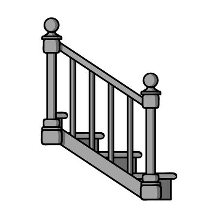 timber: Stairs icon in monochrome style isolated on white background. Sawmill and timber symbol vector illustration.