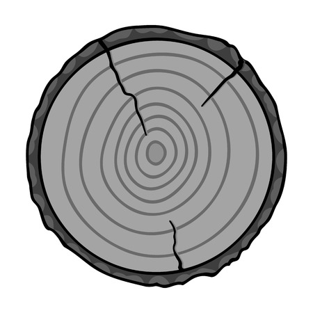 sawmill: Cross section icon in monochrome style isolated on white background. Sawmill and timber symbol vector illustration.
