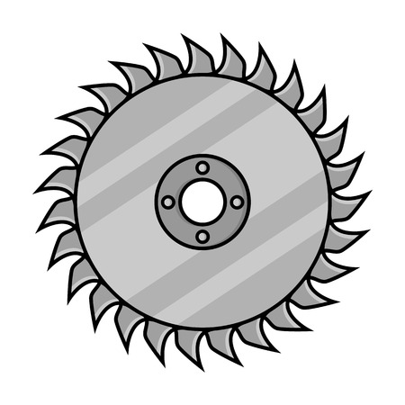 cutoff blade: Saw disc icon in monochrome style isolated on white background. Sawmill and timber symbol vector illustration. Illustration