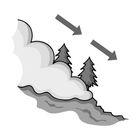 typhoon: Avalanche icon in monochrome style isolated on white background. Ski resort symbol vector illustration.