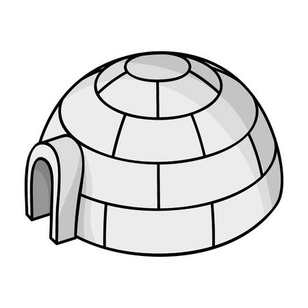 esquimales: Igloo icon in monochrome style isolated on white background. Ski resort symbol vector illustration.