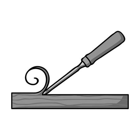 carver: Chisel icon in monochrome style isolated on white background. Sawmill and timber symbol vector illustration. Illustration