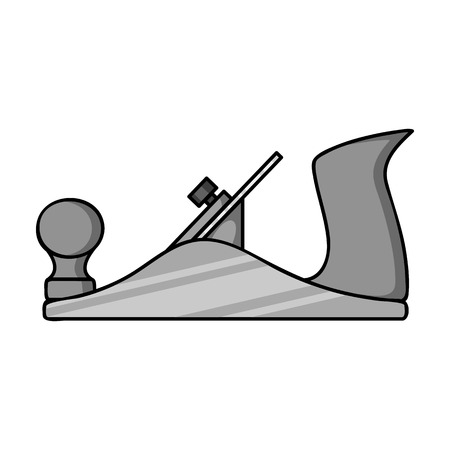 sawdust: Jack plane icon in monochrome style isolated on white background. Sawmill and timber symbol vector illustration. Illustration