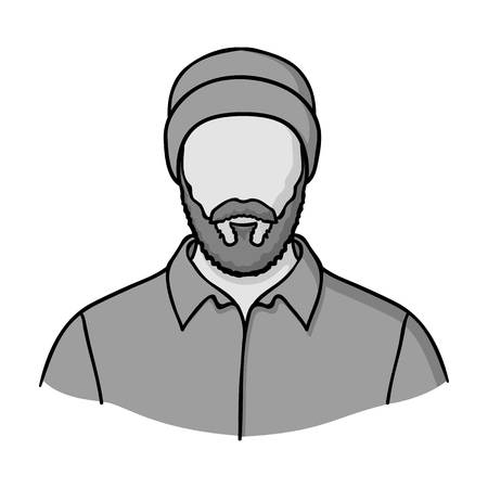 timber: Lumberjack icon in monochrome style isolated on white background. Sawmill and timber symbol vector illustration. Illustration