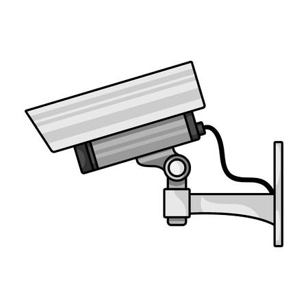 ip camera: Security camera icon in cartoon style isolated on white background. symbol vector illustration.