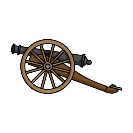 battlefield: Cannon icon in cartoon style isolated on white background. Museum symbol vector illustration. Illustration