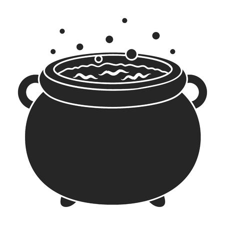 magic cauldron: Witchs cauldron icon in black style isolated on white background. Black and white magic symbol vector illustration. Illustration
