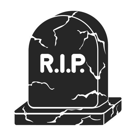 headstone: Headstone icon in black style isolated on white background. Black and white magic symbol vector illustration.