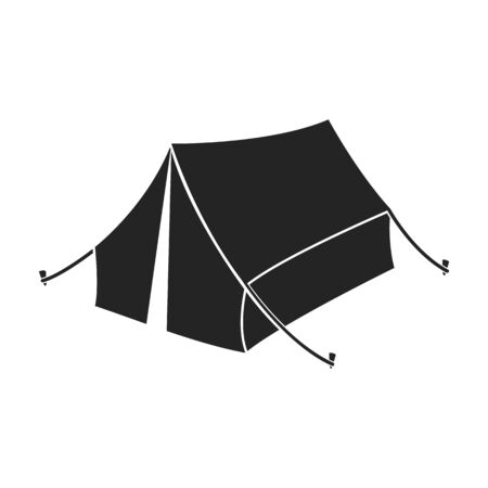 Tent icon in black style isolated on white background. Hunting symbol vector illustration.