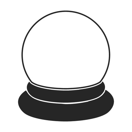 Icona della sfera di cristallo in stile nero isolato su priorità bassa bianca. Illustrazione di vettore di simbolo magico in bianco e nero.