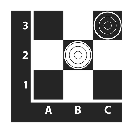 opponent: Checkers icon in black style isolated on white background. Board games symbol vector illustration. Illustration