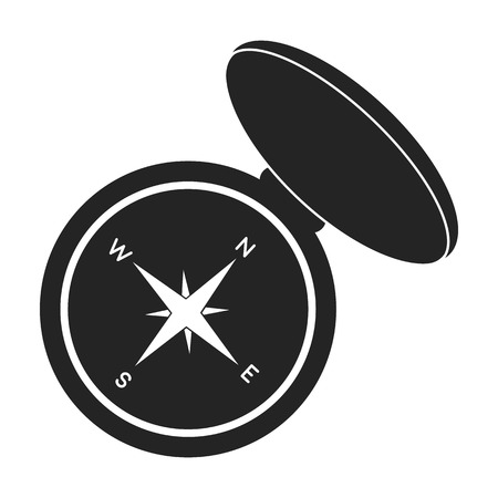 Compas icon in black style isolated on white background. Hunting symbol vector illustration. Illustration