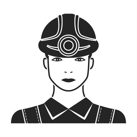 Miner icon in black style isolated on white background. Mine symbol vector illustration.