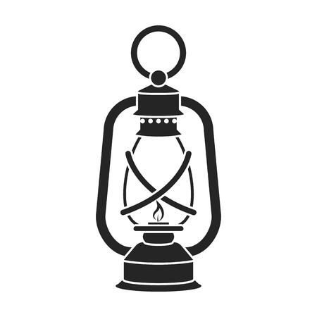 Lantaarnpictogram in zwarte stijl geïsoleerd op een witte achtergrond. Mijnsymbool vectorillustratie.