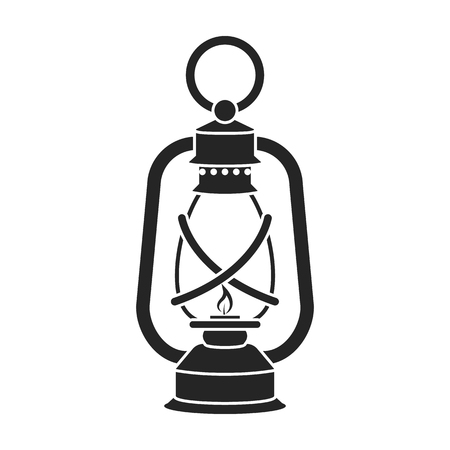 Laternenikone in der schwarzen Art lokalisiert auf weißem Hintergrund. Bergwerk Symbol Vektor-Illustration.